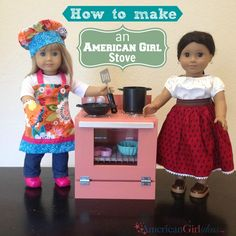 girls How to make an American Girl Stove from americangirlideas. detailed shopping list, exact cuts and lots of pics. well done. American Girl House, American Girl Crafts, American Girls, Ag Doll Crafts, Diy Doll, Ag Dolls, Girl Dolls, Barbie Doll, American Girl Accessories