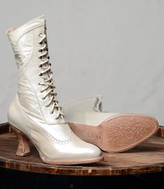 Ladies Victorian Boots & Shoes Modern Victorian Lace Up Leather Boots in Pearl $255.00 AT vintagedancer.com