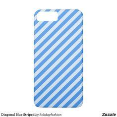 Diagonal Blue Striped iPhone 7 Plus Case