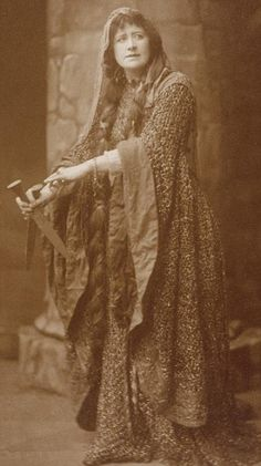 Resplendent in green: This sepia image shows Ellen Terry as Lady Macbeth wearing the dress in 1888