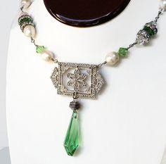 Vintage Brooch Necklace Victorian Necklace Pearl by LeParisMetro, #Etsy  #EtsyRMP
