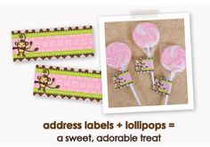 address labels + lollipops = a sweet, adorable treat ~ Pink Baby Shower Ideas ~  Baby Shower ideas