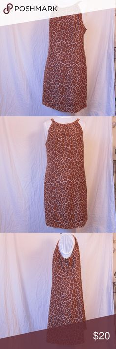 Cotton and silk giraffe print dress This adorable dress features a giraffe print in brown/white cotton and silk, and is lined. Merona Dresses