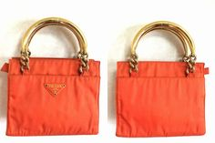 Vintage Prada orange nylon mini tote bag with gold tone by eNdApPi