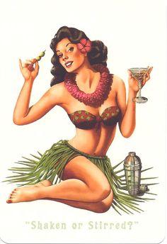 Hawaiian pin up postcard (vintage)....you like ? @Lady Lady Lady Lady Lady