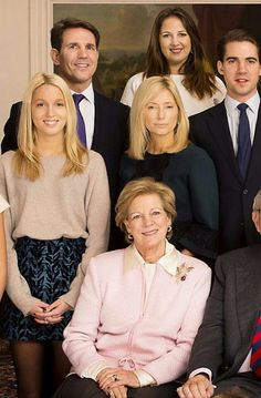 Portion of a larger family photo - shown here are Queen Anne Marie of Greece (sitting), and clockwise from left: Princess Maria Olympia, Prince Pavlos, Princess Theodora, Prince Philippos, Princess Marie-Chatal