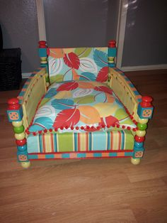 My sister and I are re-purposing old and used furniture into pet beds.This one is the Whimsical Mystery! Pet Beds, Doggie Beds, Doggies, Custom Dog Beds, Diy Dog Bed, Dog Furniture, Cute Little Puppies, Dog Rooms, Cat Room