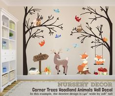 Corner trees wall decal woodland nursery premium baby room д Safari Theme Nursery, Nursery Themes, Themed Nursery, Woodland Creatures Nursery, Woodland Animals, Animal Wall Decals, Nursery Wall Decals Boy, Fox Nursery, Nursery Artwork