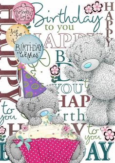 Best Birthday Wishes For A Friend Haha Tatty Teddy Ideas Birthday Greetings Quotes, Happy Birthday Messages, Happy Birthday Quotes, Happy Birthday Images, Birthday Pictures, Happy 2nd Birthday, Tatty Teddy, Birthday Clips, Card Birthday