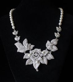 Statement  Bridal NecklaceCrystal Flower Bridal by JamJewels1