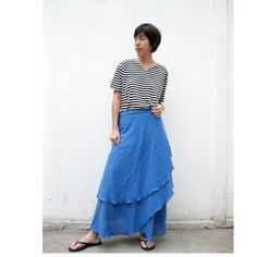 Two Layers Soft Cotton Wrap skirt  S  XL W 12 by siam2u on Etsy, $41.00