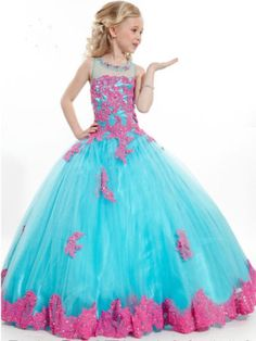 Applique Flower Girl Dresses Princess Kids Pageant Party Gown Ball Gown Custom