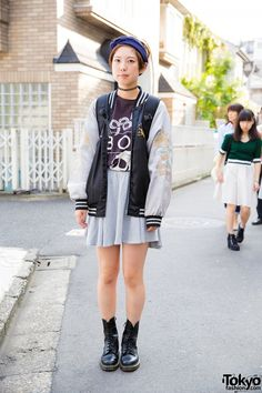 Harajuku Girl in Oversized Sukajan Jacket, Boy London & Dr. Martens Boots (Tokyo Fashion, 2015)