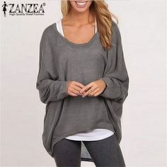 9a2be062dbb Price tracker and history of ZANZEA Blusas 9 Color Women Blouses 2017  Spring Autumn O-neck Long Batwing Sleeve Tops Casual Solid Loose Shirts  Plus Size