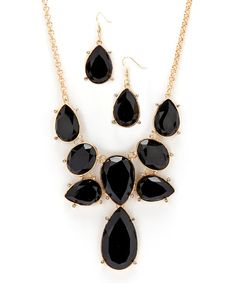 Take a look at this Gold & Black Teardrop Bib Necklace & Drop Earrings on zulily today!