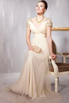 beige long formal evening gown