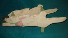 Neat Shabby Chic Wood Cut Out Easter Bunny Wheelbarrow Centerpiece Decoration