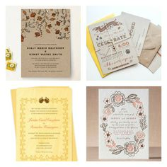 Rustic Woodsy Fall Wedding Invitations