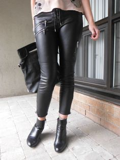 Faux Leather Pants from @H&M. Read More!: http://www.thepurplescarf.ca/2013/10/pinkskullsandblackleather.html #fashion #style