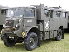 British Bedford old army converted to a lime spreader for farm fields
