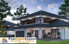 Проект дома № pl-444, общей площадью - 141 кв.м., с четырехскатной крышей.