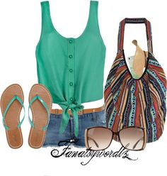 """Beach outfit ideas !!!"" by fantasyworldz ❤ liked on Polyvore"