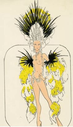 DISCO Tall Nude Showgirl Costume Showgirl Costume, Vegas Showgirl, Cabaret, Samba, Costume Design Sketch, Burlesque Show, Carnival Costumes, Showgirls, Illustrations And Posters