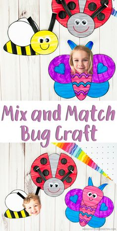 A fun and easy bug paper craft for kids with insect template. #bugcraft #kidscraft #beecraft #butterflycraft #ladybugcraft Bee Crafts For Kids, Creative Arts And Crafts, Toddler Crafts, Fun Crafts, Art For Kids, 4 Kids, Craft Activities For Kids, Preschool Crafts, April Preschool