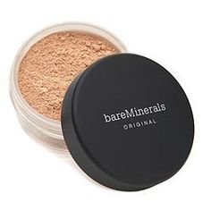 "bare minerals foundation in ""medium beige"". my absolute favorite foundation! you can even sleep with it on!"