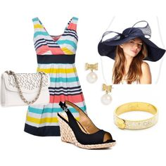 Loving the strips! Perfect Kentucky Derby outfit!