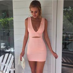 [ $21.50 ] Sexy Deep V-Neck Solid color Dress