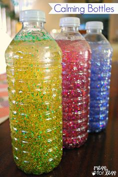 Thinking of having my preschoolers each make one of these. I know I can gather enough water bottles! Calming bottles - these sensory bottles are great for little ones to explore and for preschoolers to use during a cooling off period. Toddler Crafts, Learning Activities, Preschool Activities, Crafts For Kids, Kids Learning, Color Activities, Diy Sensory Toys For Toddlers, Coping Skills Activities, Nanny Activities