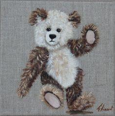 tableau nounours à l'acrylique sur lin : Peintures par galeriefaby