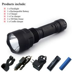 High power cree xm-l2 tactical flashlight led hunting flash lights rechargeable 18650 battery waterproof led t6 torch lanterna - Package C, 1 mode 3800lm L2