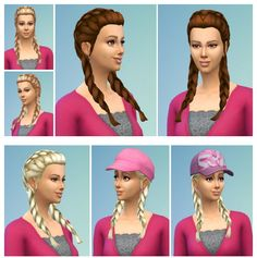 Vroni's Braided Pig tails at Birksches Sims Blog via Sims 4 Updates