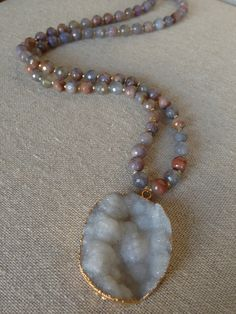 Long Glass Agate Necklace with Extra Large Druzy by GoldenstrandJewelry