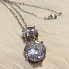 """Gorgeous Double Crystal Pendant/Necklace Clear Crystal. Large stones. 18"""" chain - Great giftNWOT CZ Jewelry Necklaces"""