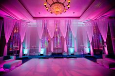 Color-washed reception walls.Illuminate the walls of your venue with your wedding colors. They can be stationary or you can switch up the hues throughout the evening during important moments (e.g. the first dance, the cake-cutting). This will provide a fun and unexpected touch to make your wedding that much more vibrant.
