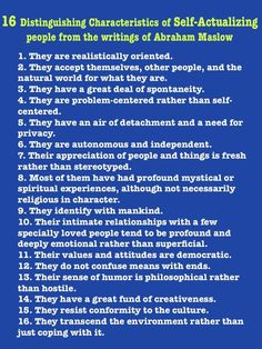16 Characteristics of Self Actualized People from Writings of Maslow
