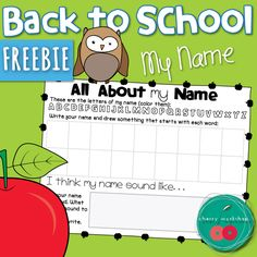 Back to School Activities All about my name printable FREEBIE