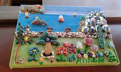 Esma'nin bahcesi Stone Crafts, Rock Crafts, Arts And Crafts, Stone Painting, Diy Painting, Leaf Crafts, Diy Crafts, Rock Painting Designs, Art N Craft