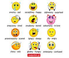Emotions Polish Alphabet, Learn Polish, Polish Words, Polish Language, German Language Learning, Polish Recipes, Polish Pottery, Secondary School, My Heritage