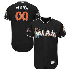 d9907260d Men Miami Marlins Majestic Alternate Black 2017 Authentic Flexbase Custom MLB  Jersey with All-Star Game Patch