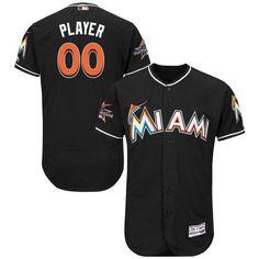 a76c6bb0b Men Miami Marlins Majestic Alternate Black 2017 Authentic Flexbase Custom MLB  Jersey with All-Star