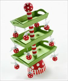 Cute for cookies!  Terra cotta pot, dowel rod, 3 assorted size wooden trays (Hobby Lobby) and ornaments!  Cute, cute, cute!!