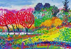 Bundanon dam by Kerry Thompson, acrylic on paper