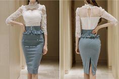 2 unidades set Faldas y tops 2017 blusa de Encaje Sexy de las mujeres falbala Faldas Slim fit trajes de señoras de la alta cintura traje twinset niñas en Sets mujer de Ropa y Accesorios de las mujeres en AliExpress.com   Alibaba Group