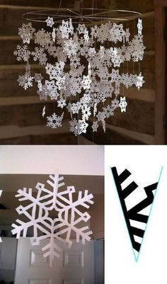 50 DIY Indoor Christmas Decorating Ideas I love Pink Diy Christmas Snowflakes, Diy Christmas Videos, Snowflake Craft, Paper Snowflakes, Christmas Crafts For Kids, Holiday Crafts, Christmas Decorations, Christmas Ornaments, Winter Christmas