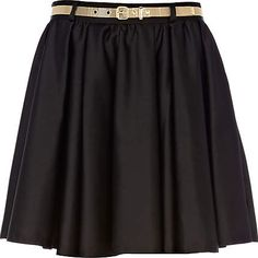 Fancy - Blue Belted Skater Skirt