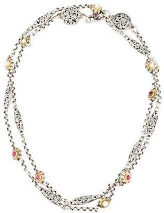 Konstantino Pink Tourmaline Filigree Station Necklace, 18L